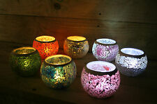 Moroccan Mosaic Glass Candle Holder 8cm x 10cm  choice of colours  inc tealight