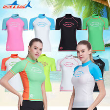 New Short Sleeve Rash Guards Sun Shirt Uv Surf Swim Top Lycra Beach Swimwear Top