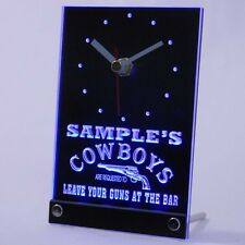 tncqg-tm Personalized Cowboys Leave Guns At The Bar Neon Led Table Clock