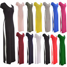 Ladies Women Caps Sleeve Stretch Both Side Split Scoop Neck Long Maxi Dress Top