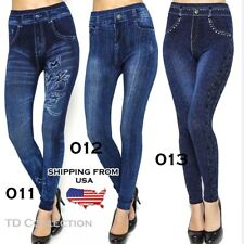 New Women Denim Jeans Look Sexy Skinny Leggings Jeggings Stretch Pants Blue