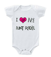 I Love My Aunt Custom Name Infant Toddler Baby Cotton Bodysuit One Piece