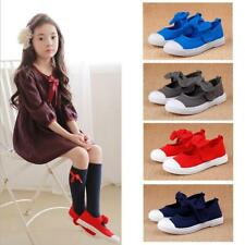 Casual Hook and Loop Mary Jane Flats Canvas Cloth Shoes Plimsolls for Kids Girls