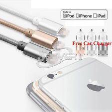 Nylon Lightning 8pin USB Data Charger Cable + Car Adapter F iPhone 5 5+ 6 6+ SE