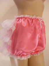 SISSY ADULT BABY CERISE SATIN TULLE FRILLY DIAPER COVER PANTIE WATERPROOF OPTION