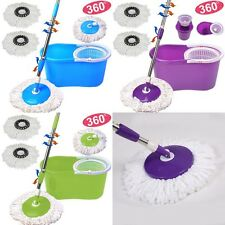 360° Rotating 2 Heads Easy Floor Mop Microfiber Spining Magic Spin Mop W/Bucket