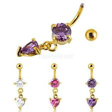 Heart Crystal Drop Dangle Button Bar Belly Navel Ring Body Piercing Jewelry
