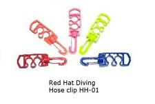 Red Hat Diving, double hose clip. New, black, blue or yellow. HH-01