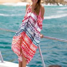 Sexy Women Boho Summer Casual Chiffon Floral Evening Party Beach Irregular Dress