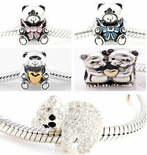 925 Solid Sterling Silver Clear Crystal Bear Bead fit European Charm Bracelet