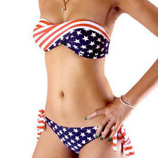 S,M,L STARS & STRIPES USA PADDED TWIST BIKINI AMERICAN FLAG SWIMWEAR SWIMSUIT