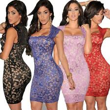 Sexy Women Lace Sleeveless Bodycon Evening Party Cocktail Mini Dress Clubwear