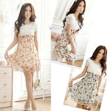 Womens Floral Tunic Short Sleeve Casual Chiffon Mini Short Dress Elastic Waist