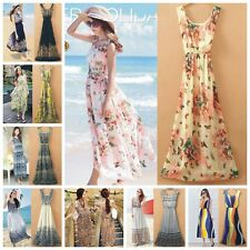 New Lady Bohemia Sleeveless Floral Beach Chiffon Elastic Waist Full Length Dress