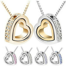 Heart Silver Plated Fashion Womens HOT Necklace Crystal Pendant Chain Jewelry