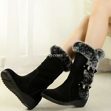 Women's Flats Boots Winter Warm Snow Boots Mid-calf Thicken Fur Suede Shoes DZ88