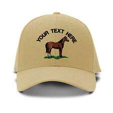Custom Text Quarter Horse Embroidery Embroidered Adjustable Hat Baseball Cap