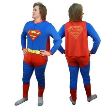 Superman Costume With Cape Union Suit Licensed Adult One Piece Pajama S-XL