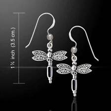 Silver Dragonfly and Gemstone Earrings - Beautiful Design