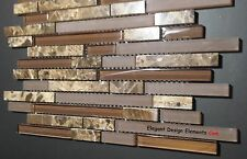 Polished Dark Emperador Stone Mosaic & Brown Glass Tile Kitchen Backsplash (Z30)