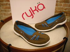Ryka Brown Leather Bungee Slip on Skimmer Flats NEW