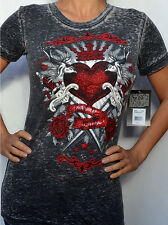 Sinful by Affliction - DELIRIOUS - Woman's - Burnout T-Shirt - NEW S3182 - Gray