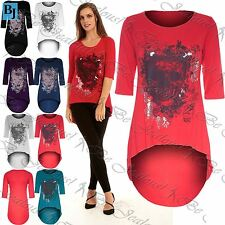 Ladies Dip Hem High Low Top Womens Gothic Butterfly Skull Foil Print Tunic Tops