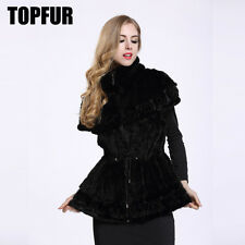 Women 100% Genuine Knitted Mink Fur Vest  Lining Waistcot With Flower New V0008