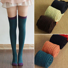 Women Wool Over Knee High Socks Super Warm Contrast Color Thigh High Boot Socks