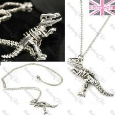 3D T REX skeleton DINOSAUR NECKLACE big pendant LONG CHAIN tyrannosaurus SILVER