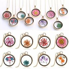 2017 Natural Real Dried Flower Resin Round Glass Locket Pendant Necklace Gift BF