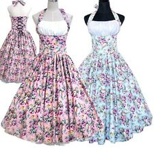 Summer Women 50s 60s Swing Vintage Dress Pinup Robe Retro Print Rockabilly Dress