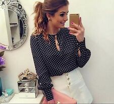 Polka Dots New Chiffon Shirt Casual Round Neck Blouses Summer Women Long Sleeve
