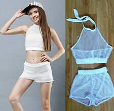 Short  Two Piece Set Cropped Camisole Blouse Mesh Crop Semi Sheer Beach