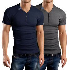 Summer Mens Button Front Short Sleeve V-Neck Casual Slim Fit T-Shirt Top New