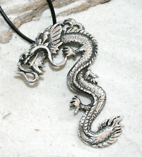 DRAGON CHINESE ASIAN Pewter Pendant Leather Necklace LG