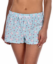 GaryM Women's Printed Flannel Pajama Shorts Aqua Cat