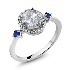 1.41 Ct Oval White Topaz Blue Simulated Sapphire 925 Sterling Silver Ring