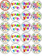 THANKYOU V1 EDIBLE WAFER PAPER OR ICING SHEET TOPPERS CUPCAKES CAKES