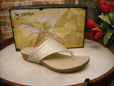 Aetrex Tamara Champagne Leather Comfort Thong Sandal NEW