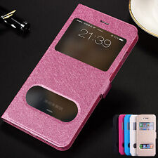 PU Leather Double View Windows Phone Case for For iPhone 6 6S Plus
