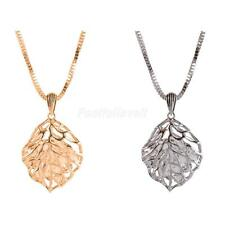 Special Hollow Out Leaf Pendant Necklace with Rhinestone Women Sweater Chain