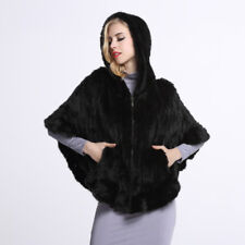100% Real Knitted Mink Fur Poncho Cape Winter Zipper Coat With Hat Jacket  P0002