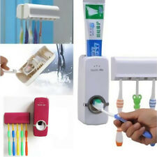 +5 Toothbrush Holder Wall Mount Stand Auto Rack Toothpaste Dispenser Set