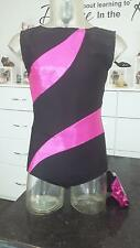 GYMNASTIC LEOTARD PINK SPARKLE & BLACK LYCRA..FREE SCRUNCHIE. ASPIRE