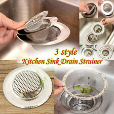 3 Style Home Kitchen Sink Drain Strainer Stainless Steel Mesh Basket Strainer
