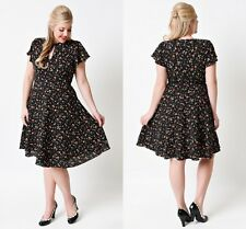 Women 50s Short Sleeves Plus Size Floral Swing Casual Dress Party Dress S-4XL