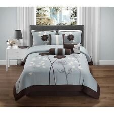 NEW Queen King Bed Blue Brown White Large Floral 7 pc Comforter Set Elegant NWT