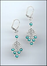 Petite Silver Filigree Earrings made with Swarovski TEAL BLUE ZIRCON Crystals