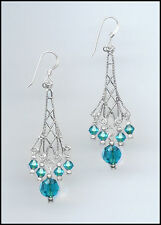 Sparkling Silver Earrings made with Swarovski TEAL BLUE ZIRCON Crystals